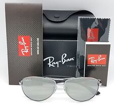 NEW Rayban sunglasses RB8313 004/K6 58 Carbon Fibr Polarized Silver Aviator 8313