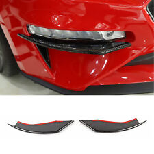 Carbon Front Bumper Vent Winglets Fog Light Canard Trim Fits 18-19 Ford Mustang