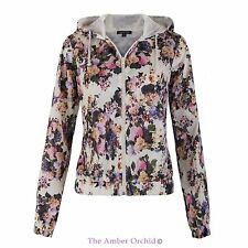 Polyester Floral Zip Hip Coats & Jackets for Women