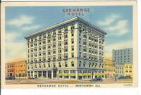 CB-061 AL, Montgomery, Exchange Hotel, Linen Postcard Old Cars Corner View