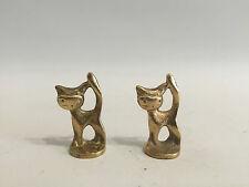 Vintage Messing 2x Katze Figur Walter Bosse Design Cat Brass 50s 50er Jahre
