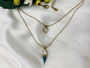 Blue Stone Antique Gold Effect Necklace