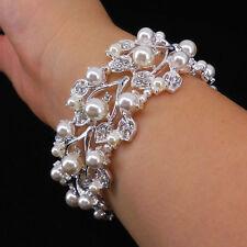 Very Beautiful Elegant Leaf Pearl Wedding Bridal Prom Party Bracelet
