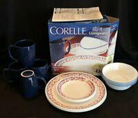 CORELLE FLORAL CASCADE Vitrelle 16 pc Set Dinner Plate Bread Plate Soup Bowl Mug