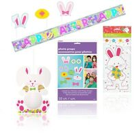 EASTER Party DECORATIONS - Bunny Banner Cello Cellophane Gift Bags Photo Booth