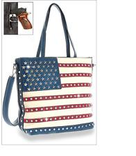 CONCEALED CARRY HANDGUN PURSE AMERICAN FLAG USA BLING SHOPPER TOTE HANDBAG