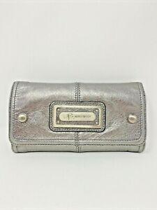 B. Makowsky womans zip wallet metallic silver  Many Card Slots