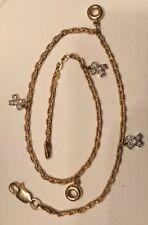 "14K Yellow Gold and Diamond Anklet XO Kisses & Hugs Dangle Bracelet 10""  WOW!"