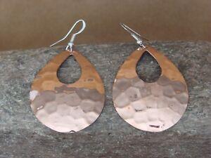 Navajo Indian Hand Stamped Copper Tear Drop Earrings by Douglas Etsitty