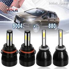 9004 LED Headlight Hi/Lo Beam + 880/881 Fog Light Bulbs for Dodge Ram 1995-2001
