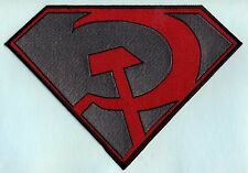 """7"""" x 10"""" Large Red & Gray Fully Embroidered Superman Red Son Chest Logo Patch"""