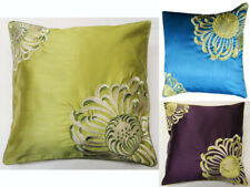 SERENA Embroidered Aplic Flower Faux Silk Cushion Cover 45cm x 45cm - 3 Colours
