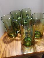 GREEN Glass Vtg beer stein bar Drinking Glassware 5 pieces.