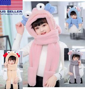 Cute Kids Girl Winter Warm Hat Scarf Beanie Fleece Cap Cover little crab ear