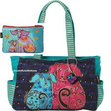 Laurel Burch Dog Blossoming Pups Puppy Medium Large Tote + Papillon Makeup Bag