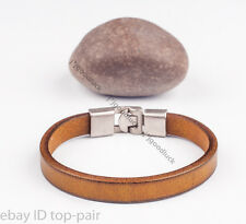 Simply Cool Single Band Genuine Leather Bracelet Wristband Men's Cuff KHAKI