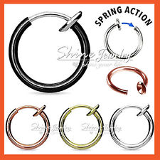 8 - 12mm 16g Fake Piercing Hoop Ring Spring Clip On Lip Nose Septum Ear Earrings