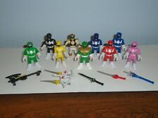 Lot Of 9 SCG Power Rangers 3? Action Figures With 6 Weapons Swords Accessories