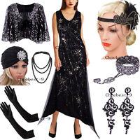 Vintage 1920s V Neck Flapper Dress Sequins Beaded Long Evening Dresses Party