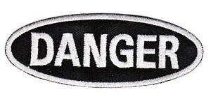 Be35 Danger Lettering Sew-On Application Patch DIY English Gefahr