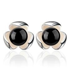 Fashion Jewelry Black Onyx Lucky Trefoil 925 Silver Stud Earrings Female Gift