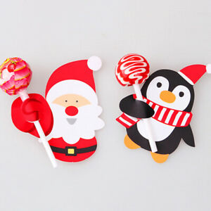 50PCS Christmas Party Lollipop Lolly Holder Kids Gift Lolly Package Decoration