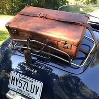RARE VINTAGE 1930's COGNAC BELTING LEATHER CLASSIC CAR RACK SUITCASE BAG R$1558