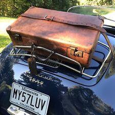RARE VINTAGE 1930's COGNAC BELTING LEATHER CLASSIC CAR RACK SUITCASE BAG R$2249