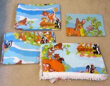 Bambi Disney Bedspread & Twin Sheet Set Sheets Sears Roebuck Blue Deer Fringe
