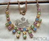 VINTAGE BEAUTIFUL Tutti Frutti Harlequin Pastel Crystal Rhinestone NECKLACE GIFT