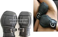 Leather Locking Goth Padded Mittens Gloves PAW  Lockable Cuffs Restraints