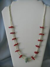 Navajo Seed Bead Red Coral Carved Turtle and Turquoise Nugget Pendant Necklace