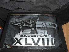 2014 SUPERBOWL 48 DENVER BRONCOS SEATTLE SEAHAWKS ETCHED MIRROR 9X12 GLOSS BLACK