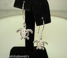 14mm Hawaiian 2-T STER Silver 14k Rose Gold 14k Turtle Plumeria CZ Hook Earrings