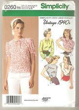 Simplicity Pattern 1692 / 0260 Miss 1940's Retro Blouse Top Shirt Sz 14-22