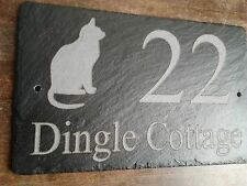 Natural Slate House Sign Cat Image & Name & Number Made to requirements