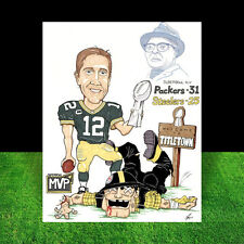 New AARON RODGERS in #12 Green Bay Packers jersey FOOTBALL ART, signed by artist