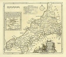 Cornwall 1786 - repro old map of Thomas Kitchin - 48x41cm - 19x16ins