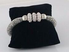 Modern Silver Mesh Bracelet Silver Beads Diamante Rings Magnetic Statement Bangl