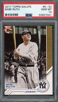 Babe Ruth New York Yankees 2017 Topps Salute Baseball Card #S-52 PSA 10 GEM MINT