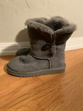Details about UGG Toddler Girls 8 Purple Suede Mini Bailey Button Flower Boots