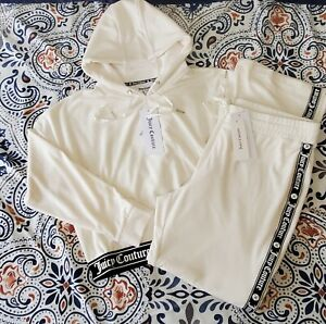 Juicy Couture Ivory Velour Tracksuit Hoodie Long Sleeves Women's Small