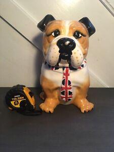 Stunning British Bulldog Porcelain Cookie Jar