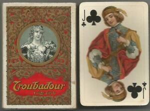 "Schönes komplettes ""Troubadour"" Patience Kartenspiel Spielkarten Schweiz um 1920"