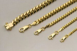 """Solid 10K Yellow Gold Miami Cuban link Necklace Chain 2mm-6mm Sz 20""""-30"""""""