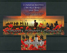 Pitcairn Islands 2014 MNH Commemorating World War I 3v M/S WWI Poppy Stamps