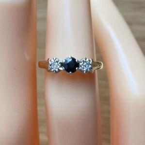 9ct Yellow Gold Sapphire & Diamond Three-Stone Ring, UK Size L, EU Size 51