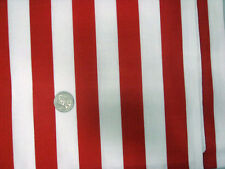 "RED WHITE 1"" WIDE STRIPE USA FLAG CIRCUS CABANA XMAS SEW CRAFT FABRIC by half yd"