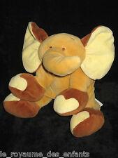 Doudou Eléphant Elephant marron et jaune beige Noukies Noukie's