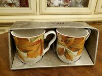 222 FIFTH HARVEST FESTIVAL BOXED SET 2 COFFEE CUPS 12 OUNCE MUGS.  NEW!